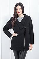 Пальто утеплене з асиметричною застібкою чорний