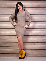 Светло-коричневое трикотажное платье с вставками из кожзаменителя