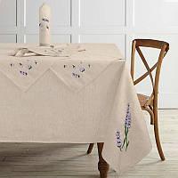 Набор из льняной скатерти ТМ Ярослав 150х175 и 6 салфетки с вышивкой 37х37