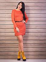Элегантное платье трикотаж-ангора, цвет: оранжевый меланж