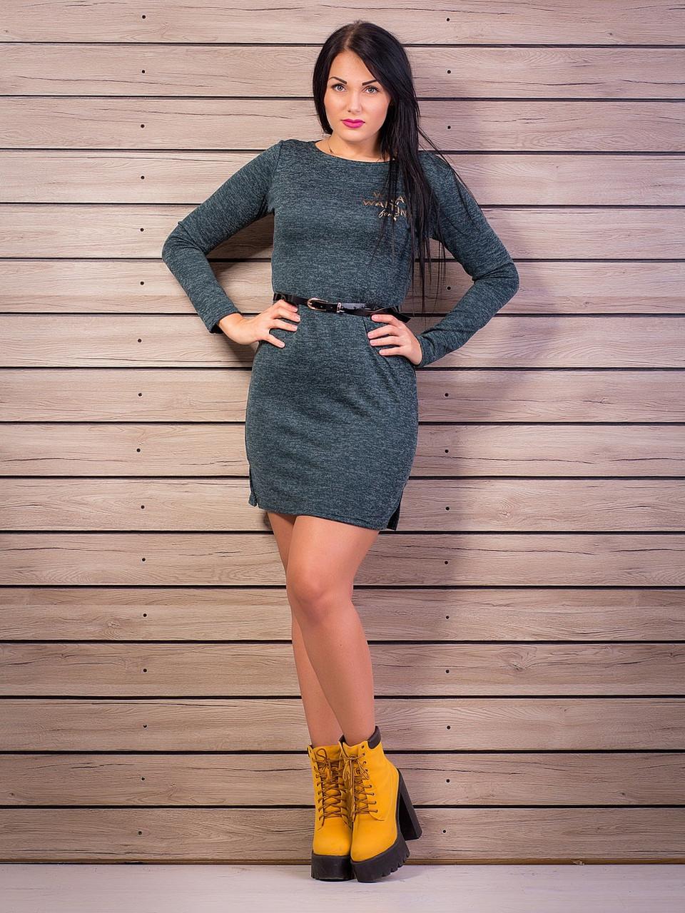 Елегантне плаття, тканина: трикотаж-ангора, колір: зелений меланж