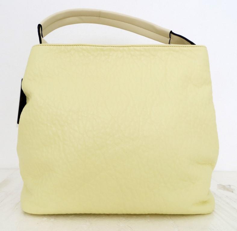 Вместительная женская сумка - мешок. Эко-кожа. Молочный