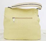 Вместительная женская сумка - мешок. Эко-кожа. Молочный, фото 2