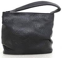 Вместительная женская сумка - мешок. Эко-кожа. Черная, фото 1