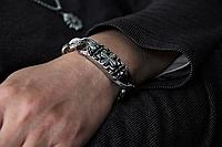 """Браслет с чернением """"Крест"""". Ширина 16/17мм. 100% аналог серебряного браслета."""