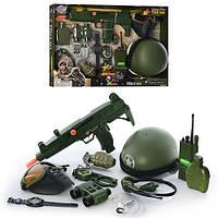 Детский игровой наборвоенного 33570, бинокль, автомат(трещотка), фляга, рация(зв,свет), каска, в кор-ке,