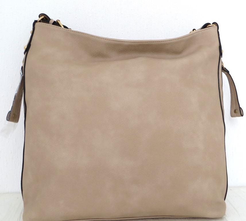 Вместительная женская сумка - мешок. Эко-кожа. Бежевая