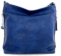 Вместительная женская сумка - мешок. Эко-кожа. Синяя