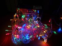 Новогодняя гирлянда светодиодная LED, лед 100, мульти, разноцветная, RGB