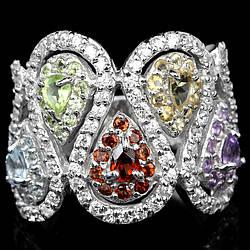Серебряное кольцо с натуральным Аметистом Гранатом Перидотом Цитрином Топазом и Cz