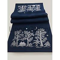 """Доріжка з вишивкою """"Зимова казка"""" синя(48*140 см.)"""