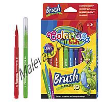"""Фломастеры """"Brush""""с пишущим узлом в виде кисти,что позволяет варьировать толщину линии 0,1-0,5 мм, 10 цветов"""