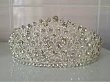 Элегантная свадебная диадема под серебро, высота 6 см., фото 2