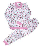 Пижама детская трикотажная с начесом для девочек. размеры 7-8 лет