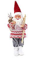 Санта Клаус 45 см с лыжами, игрушка Дед Мороз под елочку