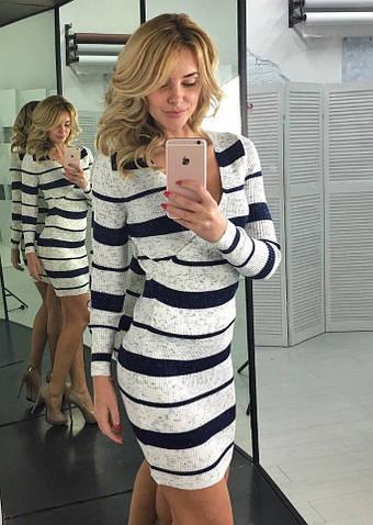 Женское платье, тонкая вязка 50% акрил 50% коттон, р-р универсальный 42-46 (белый)