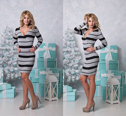 Женское платье, тонкая вязка 50% акрил 50% коттон, р-р универсальный 42-46 (серый)
