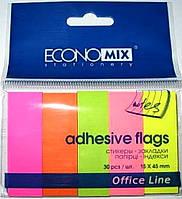 Индекс-регистры бумажные Economix E20935 неоновые 5 цветов