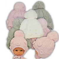 Вязанная шапка на завязках для девочек, AD35/AE, подкладка ISO SOFT