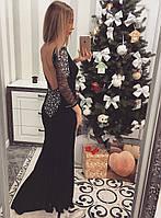 Черное длинное платье Рыбка с открытой спиной, Турция 5562