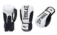 Рукавички боксерські шкіряні на липучці ELAST BO-6161-12(BK) (розмір 12 Oz, білі з чорним)