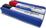 Набор маркеров для доски Optima O16205 2 цвета + губка
