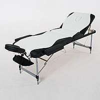 Складной 3-х секционный массажный стол RelaxLine, модель King (белый/черный), FMA3051L-1.2.3