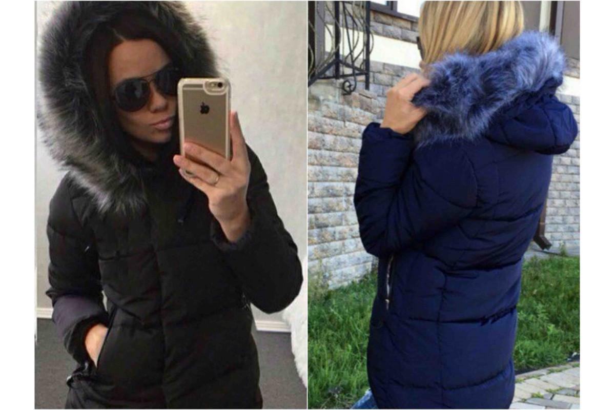 fa020da1763 Женская куртка с удлиненной спинкой с опушкой на капюшоне в батальных  размерах 48-50 52 ...