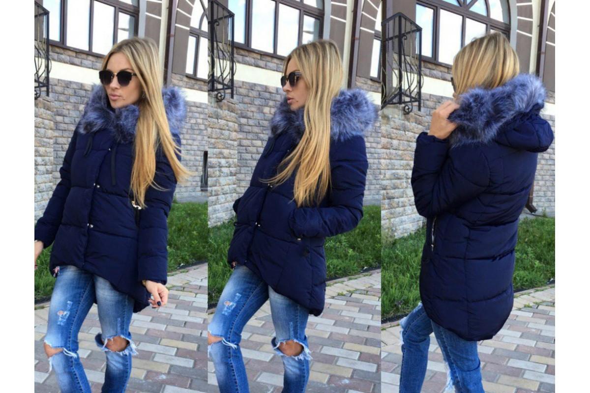 8a172a30375 Женская куртка с удлиненной спинкой с опушкой на капюшоне в батальных  размерах 48-50 52