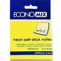 Бумага с липким слоем Economix Е20944-05 100 листов неон желтая