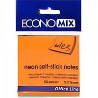 Бумага с липким слоем Economix Е20944-06 100 листов неон оранжевая