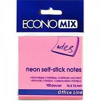 Бумага с липким слоем Economix Е20944-09 100 листов неон розовая