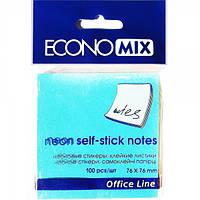Бумага с липким слоем Economix Е20944-11 100 листов неон голубой