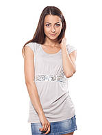 Длинная женская футболка с пайетками