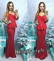 Элегантное женское платье-годе длинное в пол, с баской. Красный цвет