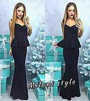 Элегантное женское платье-годе длинное в пол, с баской. Черный цвет
