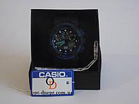 Мужские черные спортивные часы  CASIO G-SHOCK GA-100 BLACK-BLUE