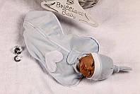 Велюровая пеленка-мешок для новорожденных с шапочкой для мальчика