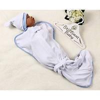 Велюровая пеленка-мешок для малышей с шапочкой для мальчика