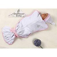 Велюровая пеленка-мешок для малышей с шапочкой для девочки