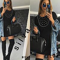 Красивое короткое черное платье с камнями МОД. 576
