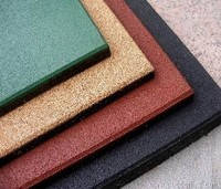 Разноцветная  резиновая плитка, размером 500х500х35 мм
