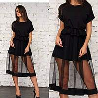 Платье миди с прозрачной юбкой из сетки Мод. 563
