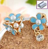 Серьги гвоздики цветок, асимметричные, голубые