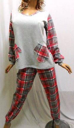 Пижама с длинным рукавом на байке, штаны в клетку, Харьков, фото 2