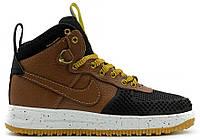 Мужские высокие кроссовки Nike Lunar Force 1 Duckboot, Найк Форс коричневые