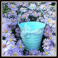 Ведро декоративное цветное (большое), цвет голубой