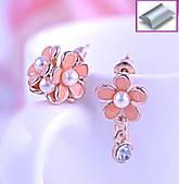Серьги гвоздики цветок, асимметричные, розовые