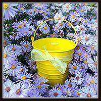 Ведро декоративное цветное (большое), цвет желтый