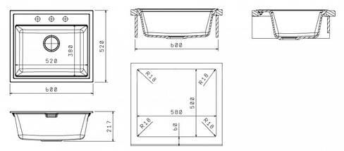 Кухонная гранитная мойка врезная 60 * 52 см Galati Patrat Piesok (301), фото 3
